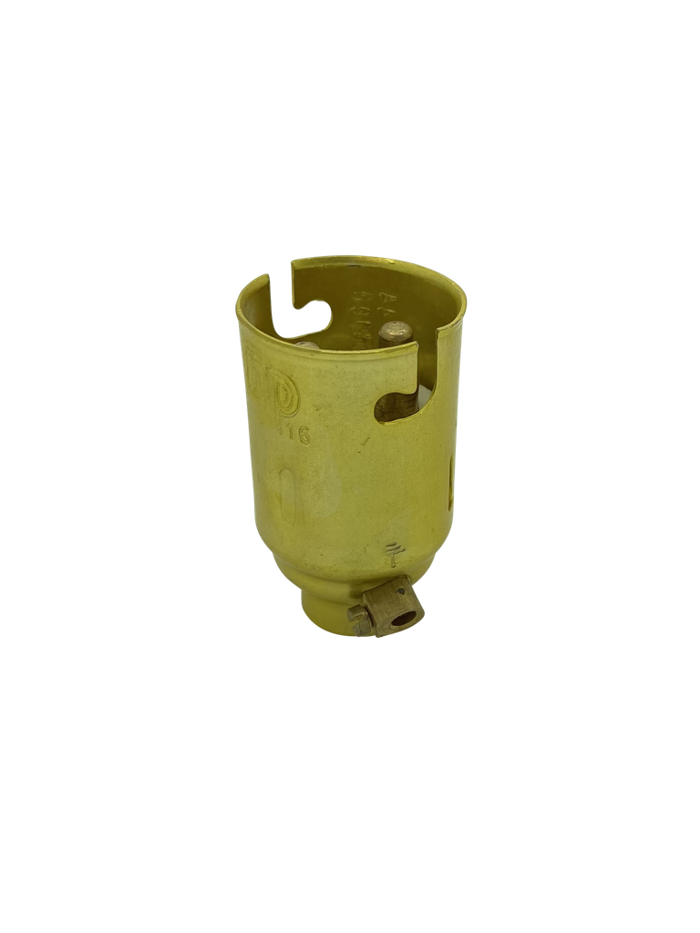 [05598] BC Candle 10mm Lampholder Brassed Metal + Earth Terminal